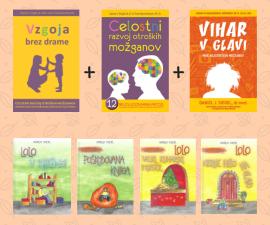 knjige Vzgoja brez drame, Vihar v glavi, moč najstniških možganov, Celostni razvoj otroških možganov ter slikanica Lolo