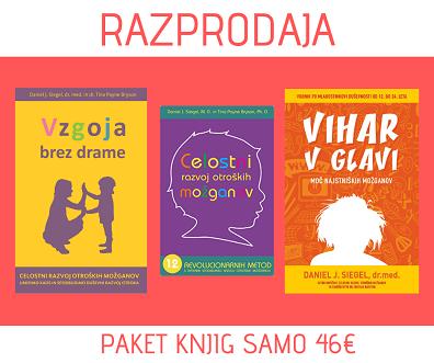 RAZPRODAJA! Knjigi Vzgoja brez drame in Celostni razvoj otroških možganov, knjiga Vihar v glavi GRATIS