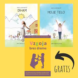 Otroški slikanici DIHAM in MOJE TELO ter knjiga Vzgoja brez drame gratis
