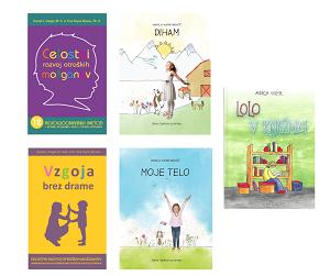 Paket knjig: Vzgoja brez drame, Celostni razvoj otroških možganov, otroški slikanici DIHAM in MOJE TELO, slikanica LOLO GRATIS